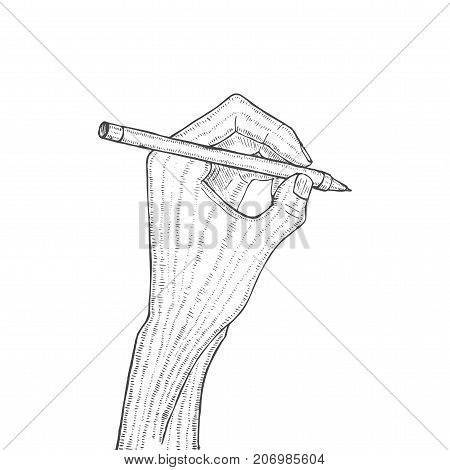 Hand Holding Pen in Hand Drawn Style. Vector Illustration