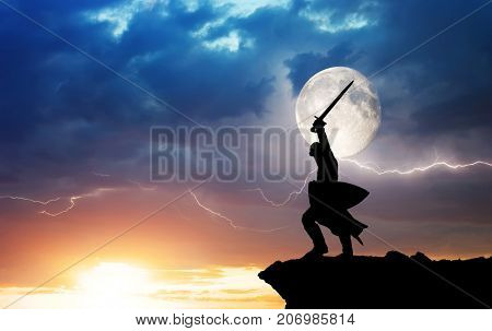 Warrior silhouette and lightning. Strenght and power conceptual scene.
