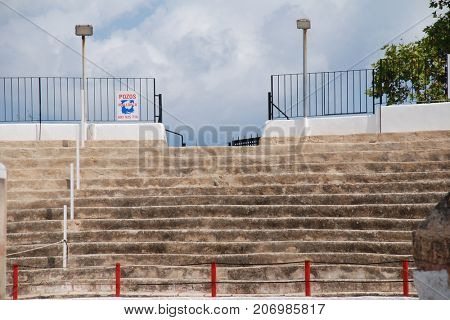MAJORCA, SPAIN - SEPTEMBER 8, 2017: Streetview of the stands of the Plaza de Toros bullring in Alcudia on the Spanish island of Majorca. In 2017 the island passed major restrictions on bull fighting.