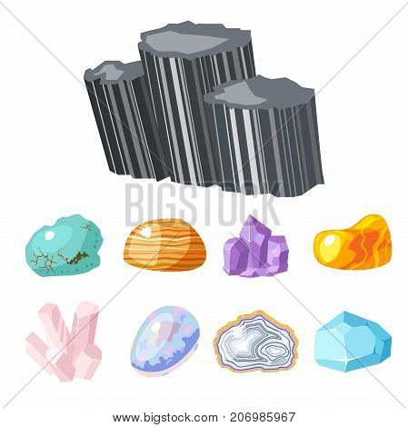 Semi precious gemstones stones and mineral stone isolated dice colorful shiny crystalline vector illustration. Mineral stone jewelry agate geology nature crystallization semiprecious.