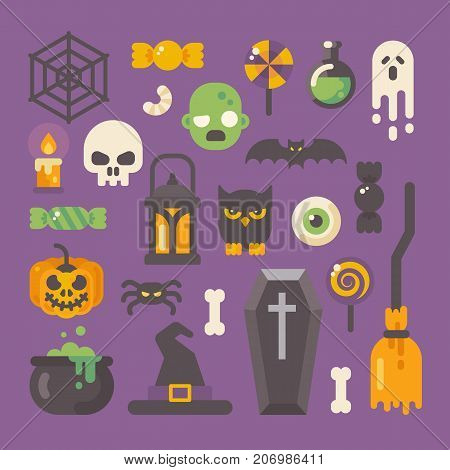 Set Of Halloween Items. Horror Flat Icons On Purple Background. Trick Or Treat