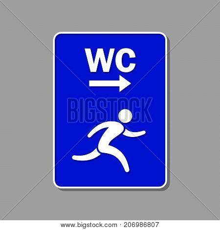 Toilet direction blue sign. WC symbol. Vector isolated symbol.