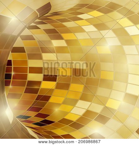 Bright shiny golden polygonal mosaic tunnel for festive holiday disco background. Vector illustration