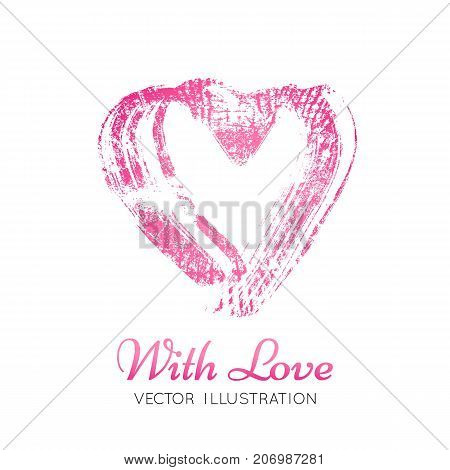 A bright pink imprint of the lipstick heard. Vector illustration. Valentine's Day element