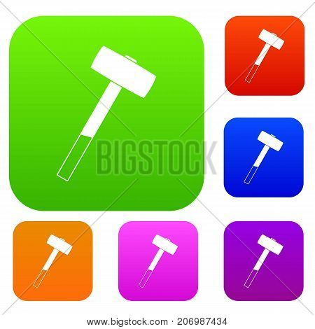 Sledgehammer set icon color in flat style isolated on white. Collection sings vector illustration