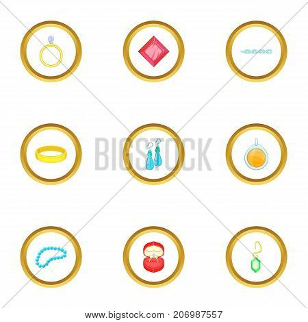 Jewelry collection icons set. Cartoon style set of 9 jewelry collection vector icons for web design