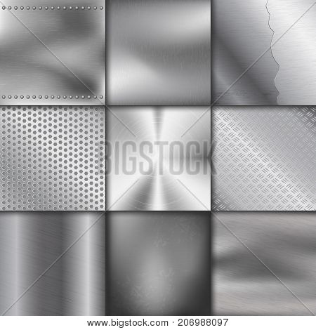Metal texture pattern background vector metallic illustration background glossy effect. Silver shiny metallic surface. Industry gray design aluminium panel backdrop.