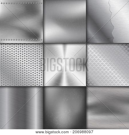 Metal texture pattern background vector metallic illustration background glossy effect. Silver shiny metallic surface. Industry gray design aluminium panel backdrop.