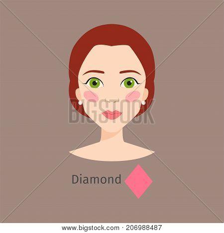 Woman face type diamond shape female. Head vector character illustration. Cosmetology avatar shape rhomb makeup. Perfect fresh skin pure beauty attractive model.