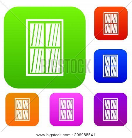 White latticed rectangle window set icon color in flat style isolated on white. Collection sings vector illustration