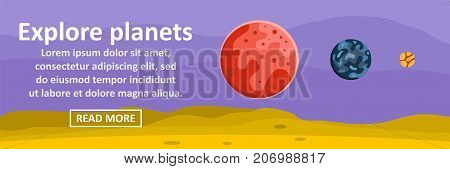 Explore planets banner horizontal concept. Flat illustration of explore planets banner horizontal vector concept for web design