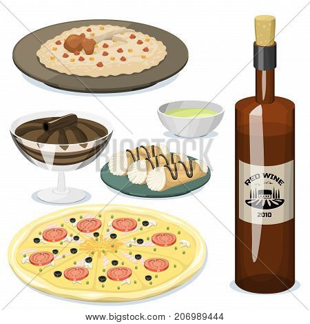 Cartoon italy food cuisine delicious ingredient homemade Italian cooking fresh traditional lunch vector illustration. Dish plate sauce vegetarian cooked diet healthy snack.