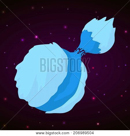 Ice planet concept background. Cartoon illustration of ice planet vector concept background for web