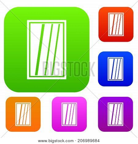 White rectangle window set icon color in flat style isolated on white. Collection sings vector illustration