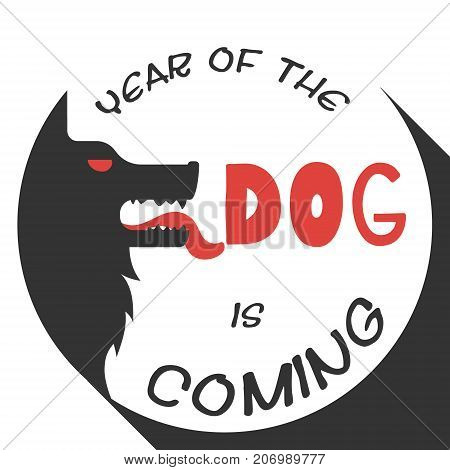 Silhouette of the dogs head stylized vector illustration for the Chinese Year of the Dog