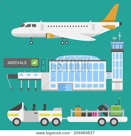 Plane airport transport symbols flat design illustration station concept air port symbols departure luggage plane. Lounge boarding flight tourism vector.