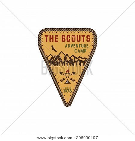 Traveling, outdoor badge. Scout adventure camp emblem. Vintage hand drawn design. Retro colors palette. Stock vector illustration, insignia, rustic patch. Isolated on white background.