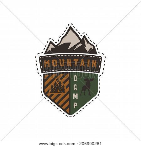 Traveling, outdoor badge. Mountain camp camp emblem. Vintage hand drawn design. Retro colors palette. Stock vector illustration, insignia, rustic patch. Isolated on white background.