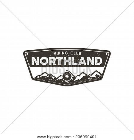 Hiking club badge. Scout adventure camp emblem. Vintage hand drawn design. Retro monochrome design. Stock vector illustration, insignia, rustic patch. Isolated on white background.