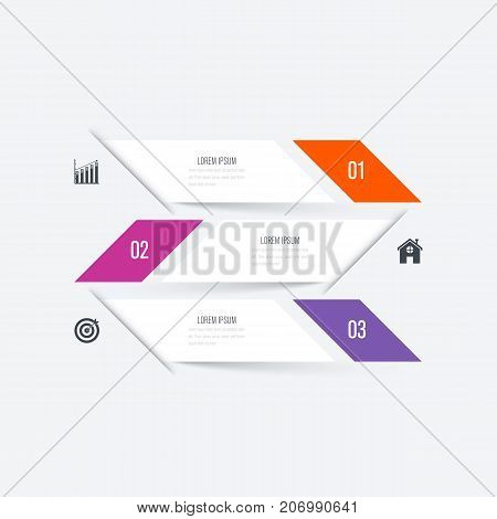 Business infographics template 3 steps with square. Stock vector. Dynamic infographics stylish geometric. element for design business invitations, gift cards, flyers and brochures
