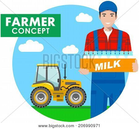 Detailed illustration of driver, farmer, workman, milkman in overalls on background with tractor in the field in flat style. Vector illustration.