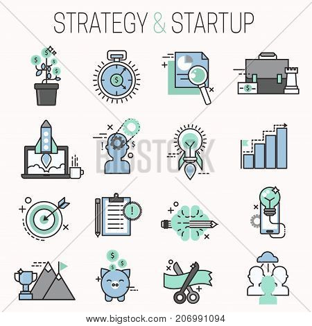 Startup and strategy outline web busines sblack and purple icon set suitable for info graphics websites ui management finance start up vector illustration. Marketing concept analysis process strategy.