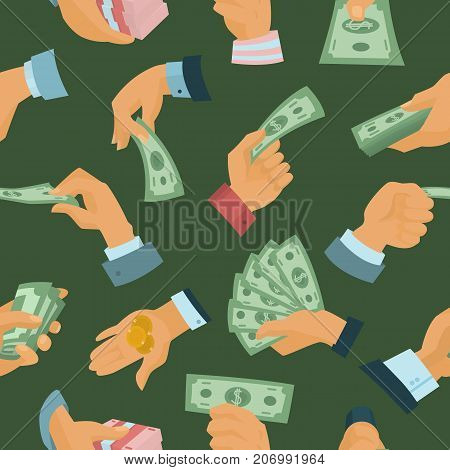 Businessman human hands hold paper money backs vector illustration seamless pattern background . Financial rich people body part. Success banknote currency cash.