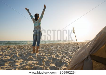 Happy Woman Traveler, With Open Arms