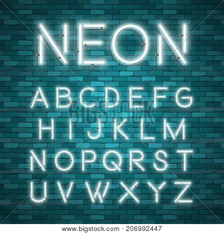 Realistic neon alphabet. Bright neon glowing font. Vector format