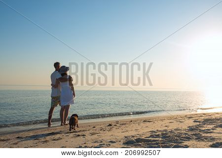 Romantic Couple, With A Little Funny Dog