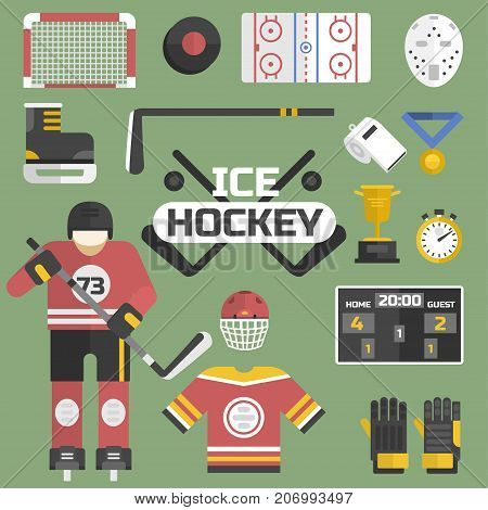 Hockey sport icons equipment design vector illustration. Game symbol ice stick goalkeeper web champion pictogram. Skating helmet sign winter uniform.