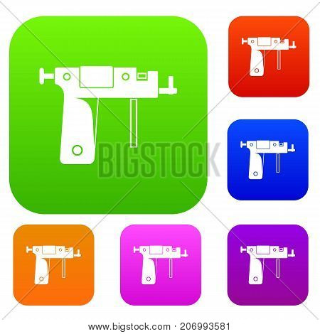 Piercing gun set icon color in flat style isolated on white. Collection sings vector illustration