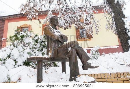 Monument To The Writer Mikhail Bulgakov In Kyiv. Ukraine