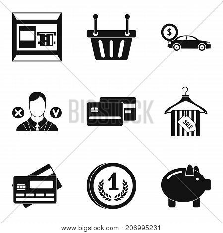 Purchase on credit icons set. Simple set of 9 purchase on credit vector icons for web isolated on white background