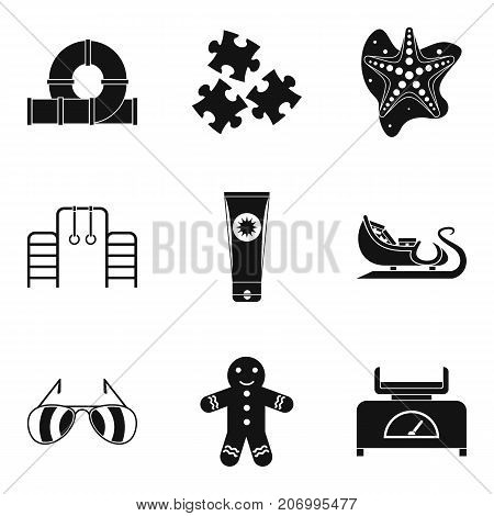 Childrens resort icons set. Simple set of 9 childrens resort vector icons for web isolated on white background