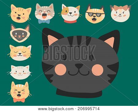 Cats heads vector illustration cute animal funny decorative characters color abstract feline domestic trendy pet drawn. Happy mammal fur adorable breed. poster
