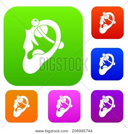 Human ear with piercing set icon color in flat style isolated on white. Collection sings vector illustration