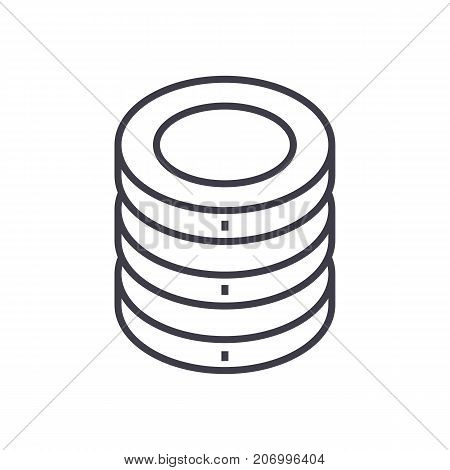 coins vector line icon, sign, illustration on white background, editable strokes