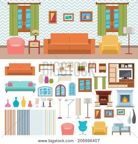 Furniture room interior design decor elements and room design furniture interior style concept vector. Furniture interior and home decor concept icon set flat vector illustration.