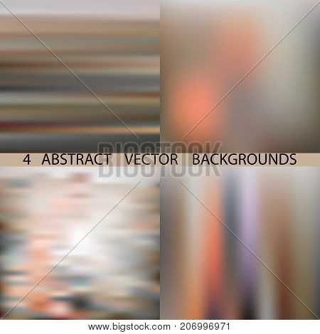 Set of abstract blurred vector backgrounds. Grey beige and broun colors