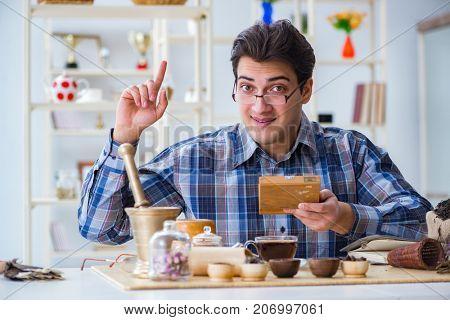 Professional tea expert trying new brews