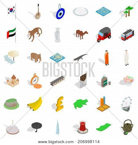 Hot country icons set. Isometric style of 36 hot country vector icons for web isolated on white background