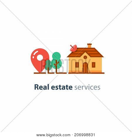 Detached house location, suburban home, real estate concept, residential neighborhood vector flat icon