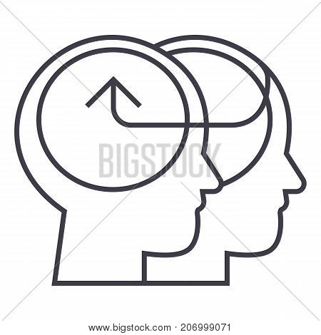 cooperative human heads, collective decision vector line icon, sign, illustration on white background, editable strokes