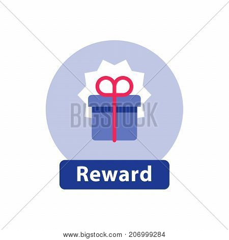 Win super prize, reward gift, surprising present blue box, bonus concept, loyalty program, vector flat icon