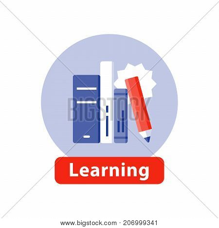 Education concept, study books stack, learning subject, knowledge literature, vector flat icon