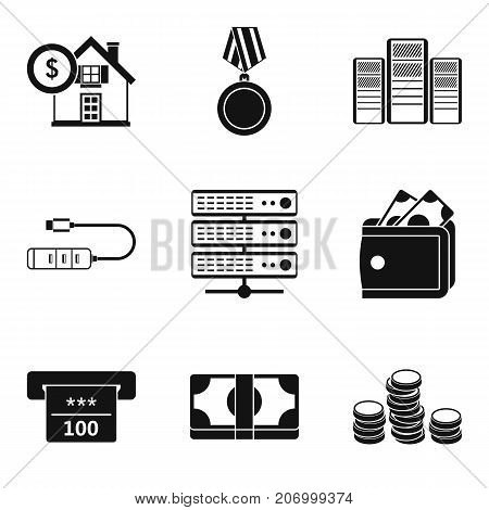 Credit history icons set. Simple set of 9 credit history vector icons for web isolated on white background
