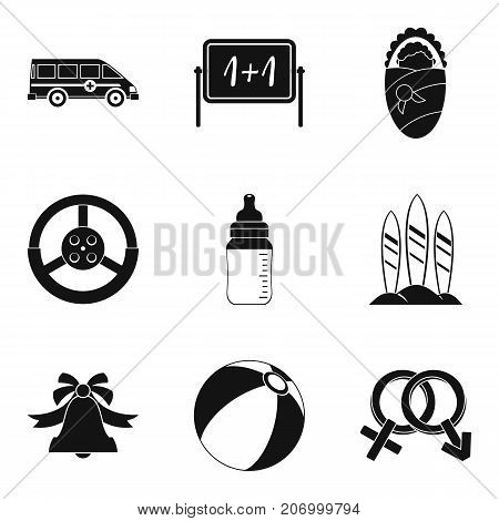 Kindergarten group icons set. Simple set of 9 kindergarten group vector icons for web isolated on white background