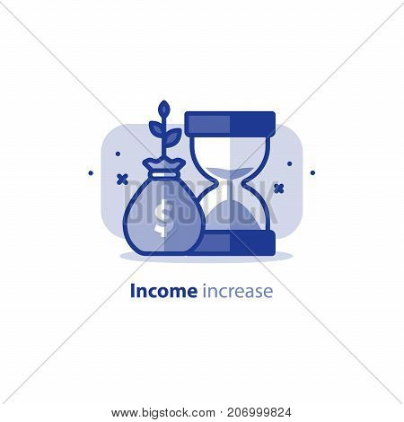 Time is money concept, financial long term investment plan, fund rising, income increase, compound interest, vector line icon