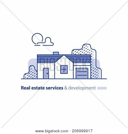 Small detached long house with garage, one floor, suburb summer house icon, real estate vector line illustration